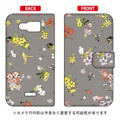 手帳型ケース SINDEE「Fly Flower(グレー)」 / for AQUOS PHONE SERIE SHL24/au